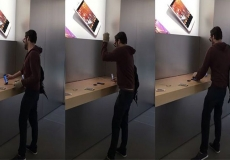 Rogue fanboy crushes Apple store with his giant balls